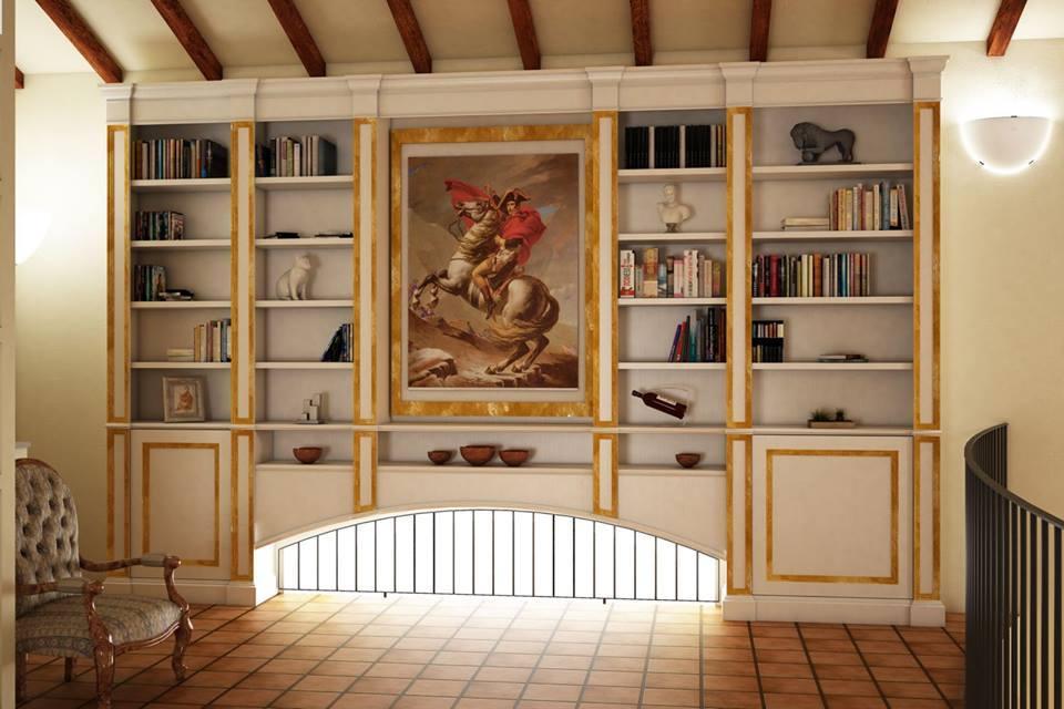 progetto libreria-boiserie