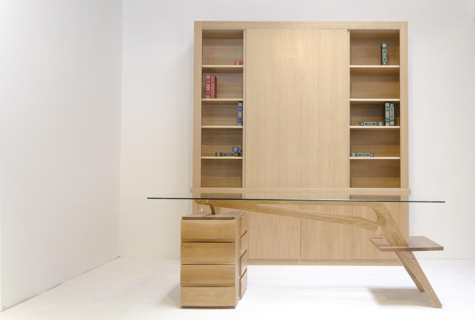 Scrivania studio libreria con ante (2)