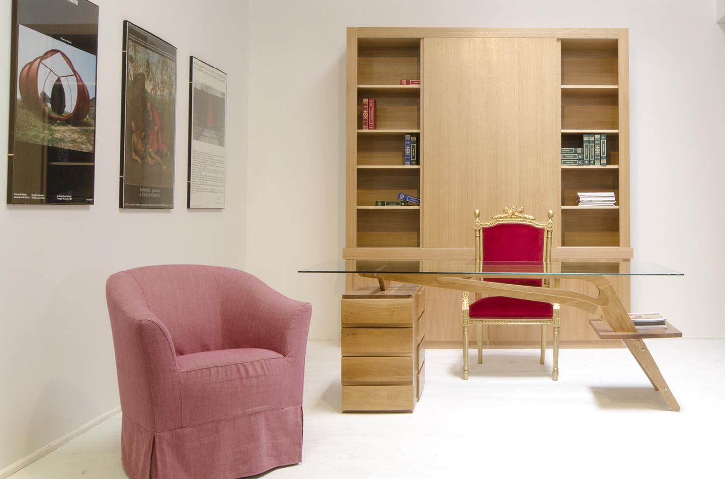 Scrivania studio libreria con ante (3)